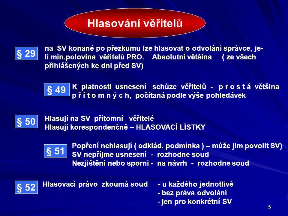 5 Hlasování věřitelů na SV konané po přezkumu lze hlasovat o odvolání správce, je- li min.polovina věřitelů PRO.