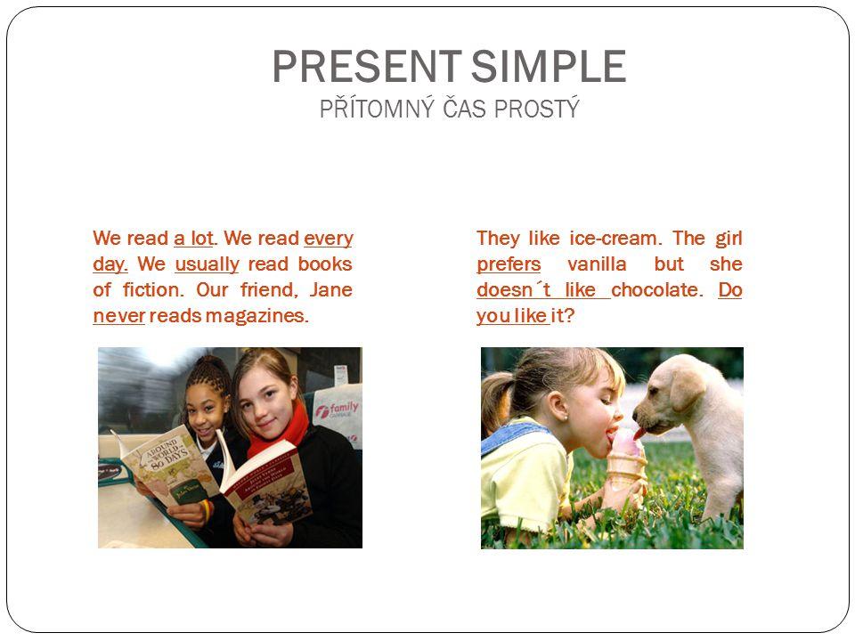 PRESENT SIMPLE: HOW TO CREATE IT.OZNAMOVACÍ V Ě TA: - I read a lot.