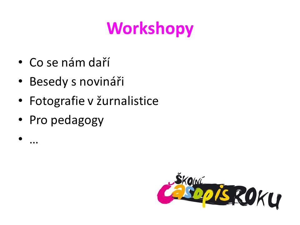 Workshopy Co se nám daří Besedy s novináři Fotografie v žurnalistice Pro pedagogy …