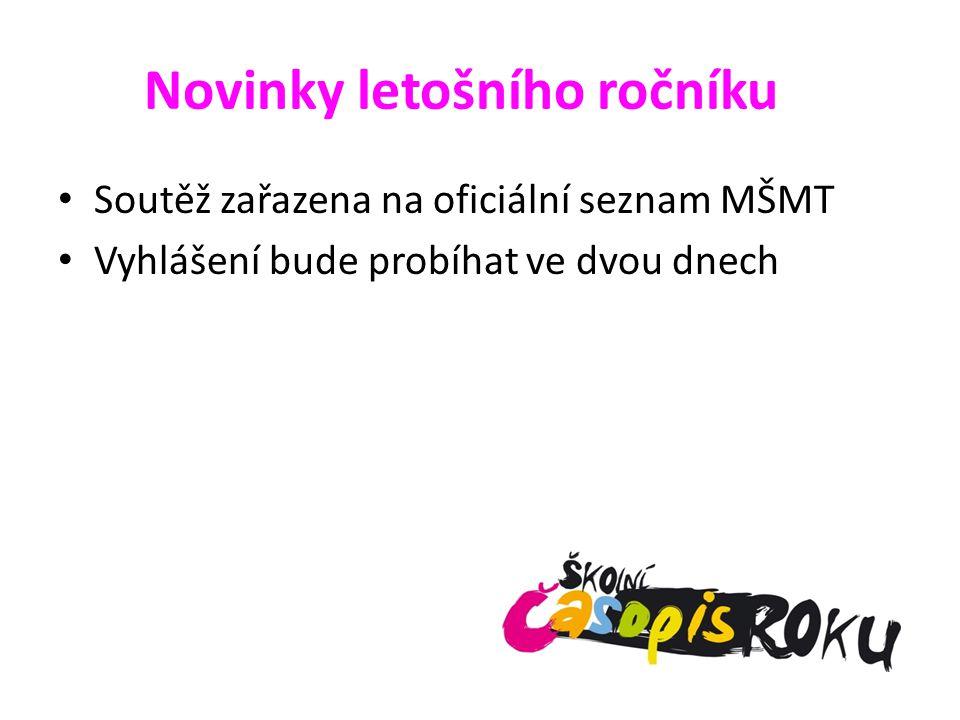Novinky letošního ročníku Soutěž zařazena na oficiální seznam MŠMT Vyhlášení bude probíhat ve dvou dnech