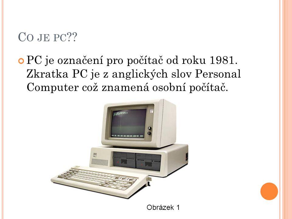C O JE PC . PC je označení pro počítač od roku 1981.