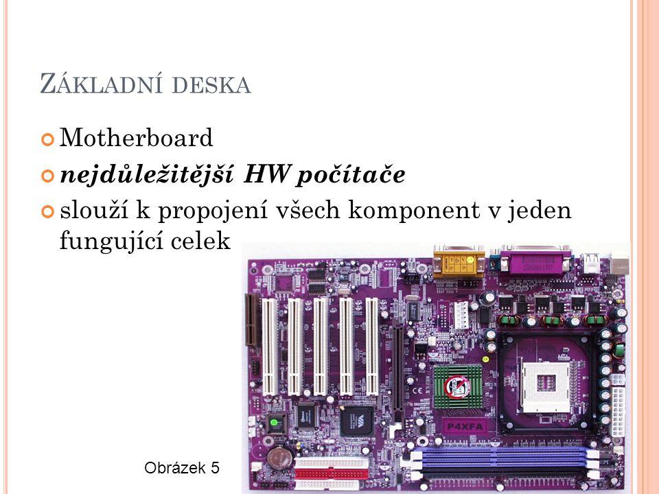 Z ÁKLADNÍ DESKA Motherboard nejdůležitější HW počítače slouží k propojení všech komponent v jeden fungující celek Obrázek 5