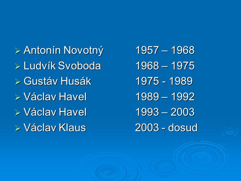  Antonín Novotný1957 – 1968  Ludvík Svoboda1968 – 1975  Gustáv Husák1975 - 1989  Václav Havel1989 – 1992  Václav Havel1993 – 2003  Václav Klaus2003 - dosud