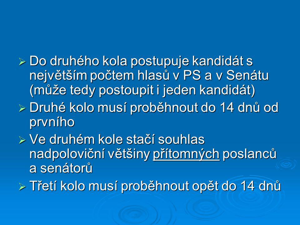 Vláda ČR  Je odpovědná Poslanecké sněmovně Parlamentu ČR  Do 30 dnů po svém jmenování musí získat její důvěru (souhlas nadpoloviční většiny)  Vládu sestavuje osoba, kterou pověří Prezident ČR po volbách do PS PČR, zpravidla to bývá předseda vítězné politické strany  Vládu jmenuje Prezident ČR