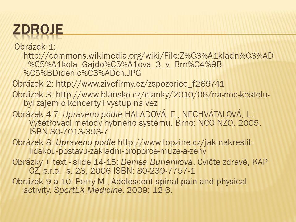 Obrázek 1: http://commons.wikimedia.org/wiki/File:Z%C3%A1kladn%C3%AD _%C5%A1kola_Gajdo%C5%A1ova_3_v_Brn%C4%9B- %C5%BDidenic%C3%ADch.JPG Obrázek 2: http://www.zivefirmy.cz/zspozorice_f269741 Obrázek 3: http://www.blansko.cz/clanky/2010/06/na-noc-kostelu- byl-zajem-o-koncerty-i-vystup-na-vez Obrázek 4-7: Upraveno podle HALADOVÁ, E., NECHVÁTALOVÁ, L.: Vyšetřovací metody hybného systému.