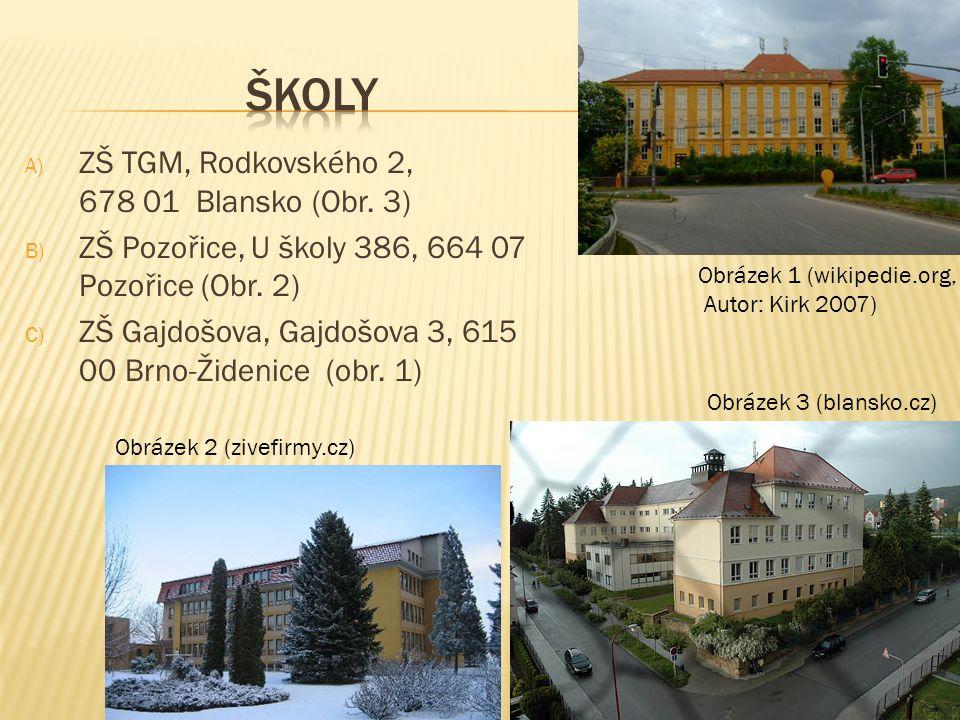 A) ZŠ TGM, Rodkovského 2, 678 01 Blansko (Obr. 3) B) ZŠ Pozořice, U školy 386, 664 07 Pozořice (Obr. 2) C) ZŠ Gajdošova, Gajdošova 3, 615 00 Brno-Žide