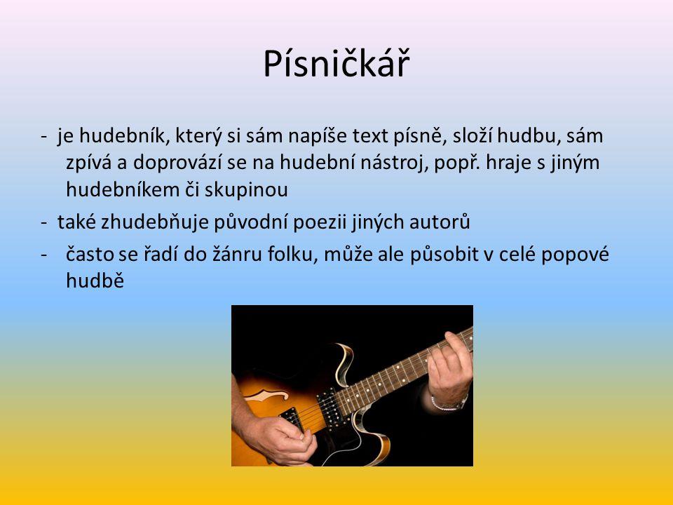 Písničkář - je hudebník, který si sám napíše text písně, složí hudbu, sám zpívá a doprovází se na hudební nástroj, popř. hraje s jiným hudebníkem či s