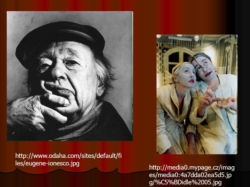 Eugene Ionesco ( 1912 – 1994) Hra Židle - autor vyplnil prázdno židlemi, na které postupně jakoby usedají fyzicky nepřítomné osoby, s kterými vedou dialog dva protagonisté – Stařeček a Stařenka – jediní viditelní - ti v závěru spáchají sebevraždu a hluchoněmý Řečník sděluje jejich nesrozumitelné poselství o smyslu života - ti v závěru spáchají sebevraždu a hluchoněmý Řečník sděluje jejich nesrozumitelné poselství o smyslu života