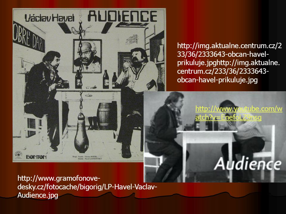 Audience Do této hry zahrnul Václav Havel své vlastní zkušenosti z doby, kdy pracoval jako dělník v trutnovském pivovaru. Hrdinou hry je zakázaný spis