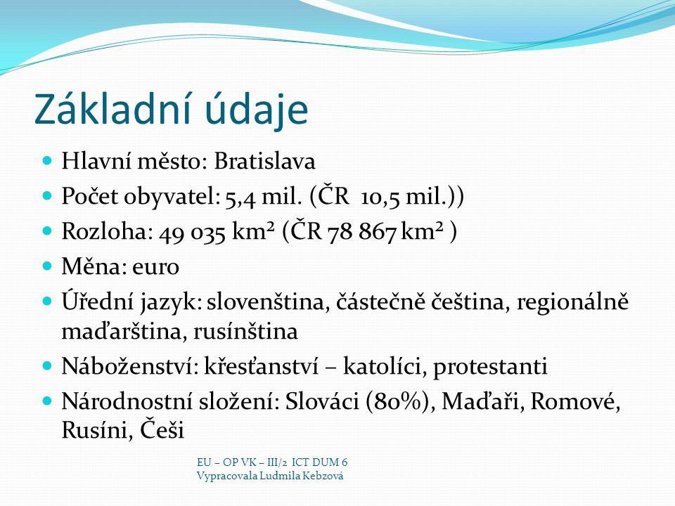 Základní údaje Hlavní město: Bratislava Počet obyvatel: 5,4 mil. (ČR 10,5 mil.)) Rozloha: 49 035 km² (ČR 78 867 km² ) Měna: euro Úřední jazyk: slovenš