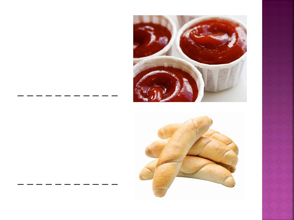  1) an egg  2) a chicken  3) cheese  4) a sausage  5) pasta  6) a soup  7) ketchup  8) a roll