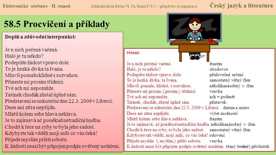 58.5 Procvičení a příklady Elektronická učebnice - II.