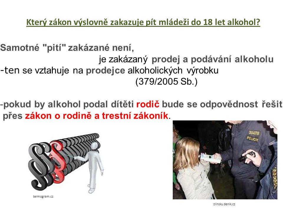 Který zákon výslovně zakazuje pít mládeži do 18 let alkohol.