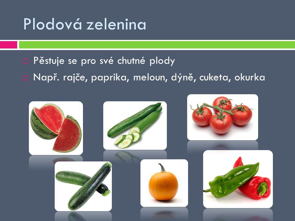 Plodová zelenina  Pěstuje se pro své chutné plody  Např. rajče, paprika, meloun, dýně, cuketa, okurka