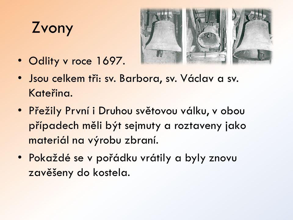 Zvony Odlity v roce 1697. Jsou celkem tři: sv. Barbora, sv. Václav a sv. Kateřina. Přežily První i Druhou světovou válku, v obou případech měli být se