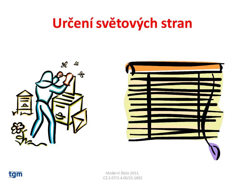 Určení světových stran Včelíny bývají obráceny k jihu Moderní škola 2011, CZ.1.07/1.4.00/21.1692