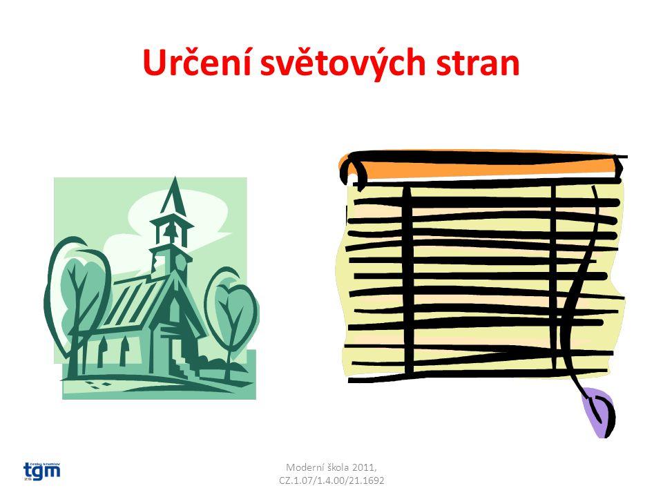 Určení světových stran Kostel je orientován oltářem k východu Moderní škola 2011, CZ.1.07/1.4.00/21.1692