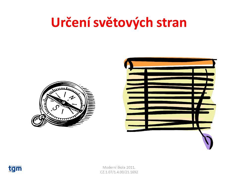 Určení světových stran Podle buzoly Moderní škola 2011, CZ.1.07/1.4.00/21.1692