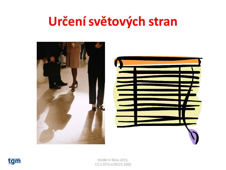 Určení světových stran Letokruhy u pařezů jsou na severní straně hustější Moderní škola 2011, CZ.1.07/1.4.00/21.1692