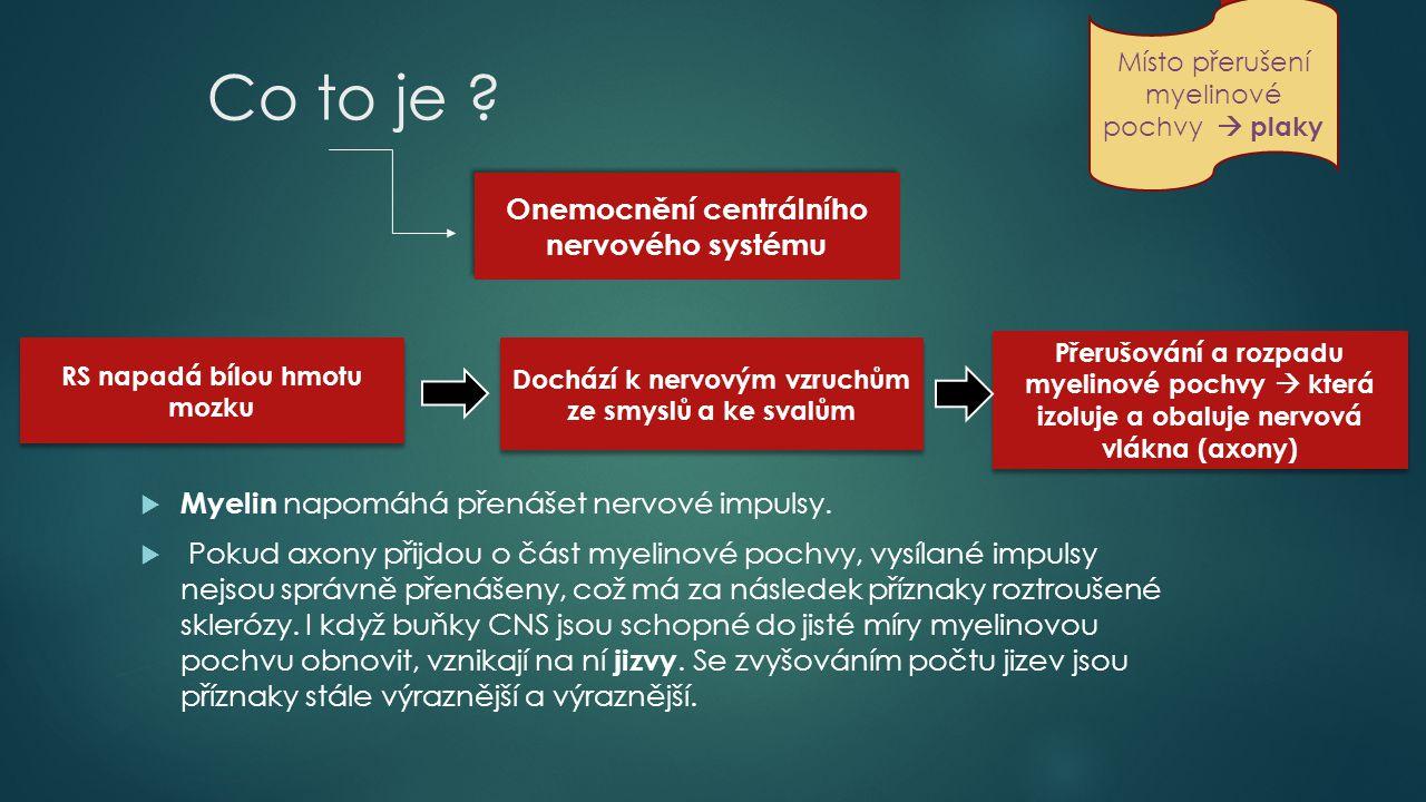 Zničení myelinové pochvy Úbytek nervových vláken (Axonální ztráta ) Nahradit nejde Šedá hmota Paměť, myšlení vědomí Nebývá napadena