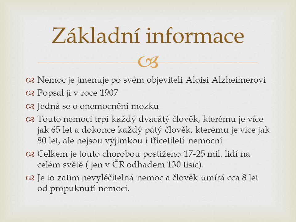   Nemoc je jmenuje po svém objeviteli Aloisi Alzheimerovi  Popsal ji v roce 1907  Jedná se o onemocnění mozku  Touto nemocí trpí každý dvacátý čl