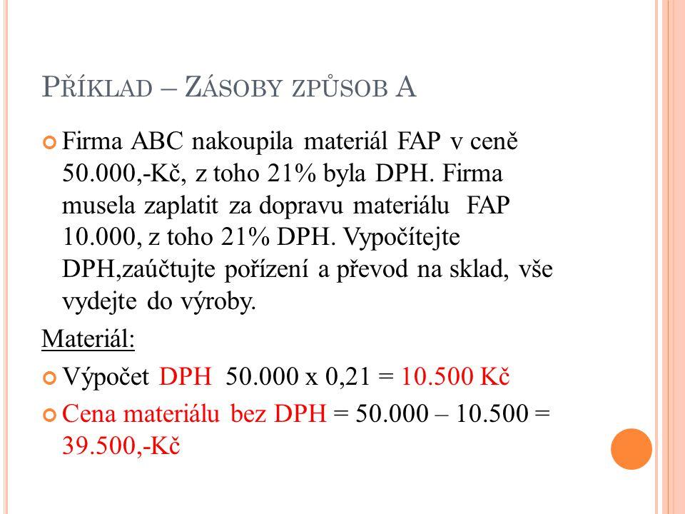 P ŘÍKLAD – Z ÁSOBY ZPŮSOB A Firma ABC nakoupila materiál FAP v ceně 50.000,-Kč, z toho 21% byla DPH.