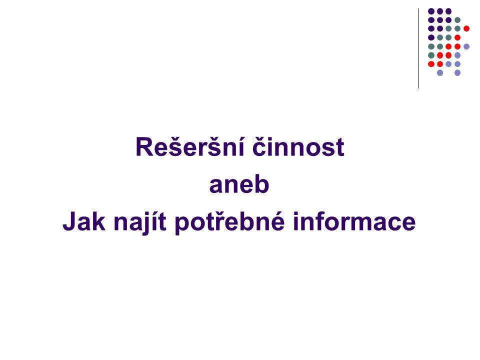 Neviditelný web důvody vyhledávací stroje nedokážou vyhledávat v databázích vyhledávací stroje nedokážou indexovat dynamicky se měnící stránky (informace se generují z databáze) omezená přístupová práva (na některé stránky je přístup chráněn heslem - katalogy knihoven, databáze apod.) – stránky s neveřejným obsahem pro mnoho vyhledávačů jsou jiné typy souborů než html nečitelné k řadě stránek nevedou odkazy z jiných stránek – odpojené stránky (až 22% webu) mnoho vyhledávacích strojů má omezení na počet indexovaných stránek z určité domény apod.