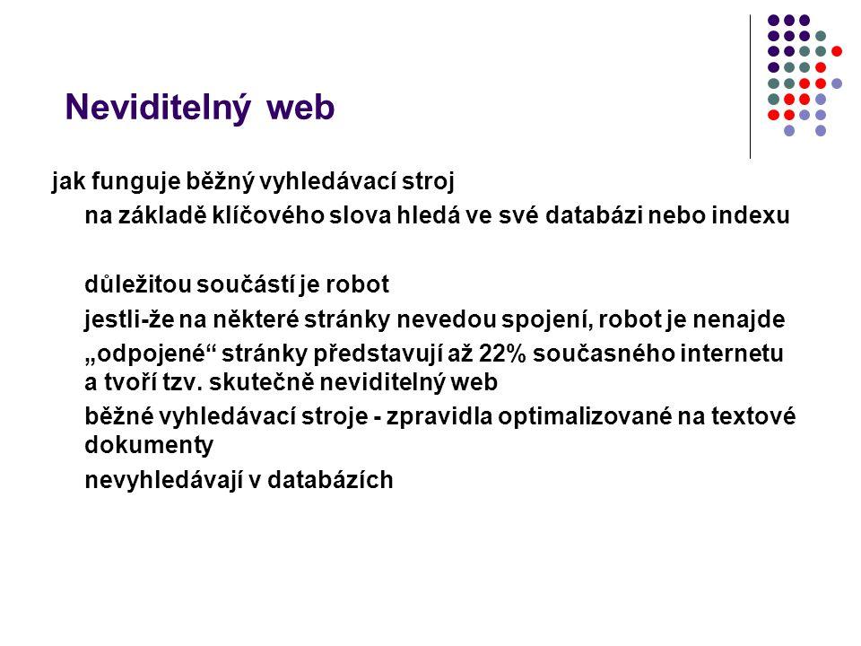 Neviditelný web jak funguje běžný vyhledávací stroj na základě klíčového slova hledá ve své databázi nebo indexu důležitou součástí je robot jestli-že
