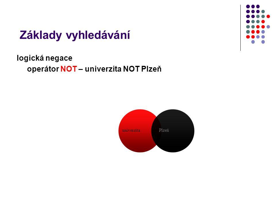 Základy vyhledávání logická negace operátor NOT – univerzita NOT Plzeň univerzitaPlzeň