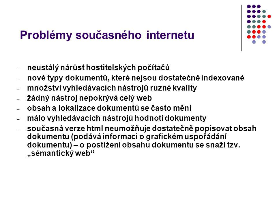 Problémy současného internetu – neustálý nárůst hostitelských počítačů – nové typy dokumentů, které nejsou dostatečně indexované – množství vyhledávac
