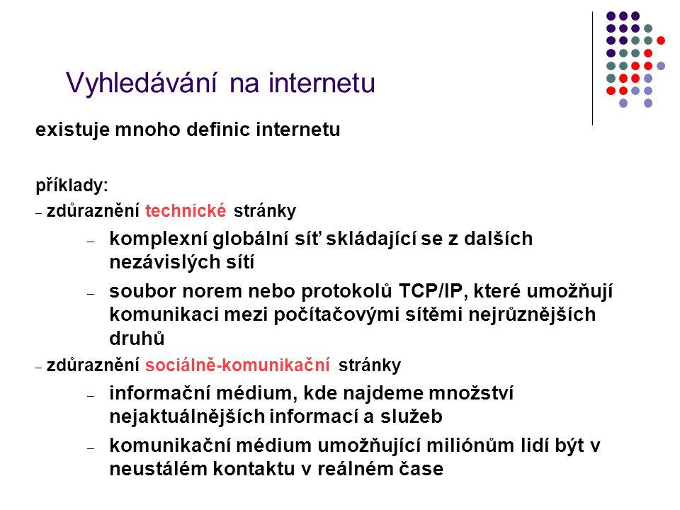 Vyhledávání na internetu existuje mnoho definic internetu příklady: – zdůraznění technické stránky – komplexní globální síť skládající se z dalších ne