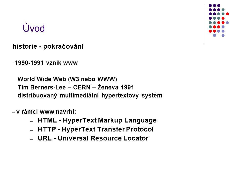 Úvod historie - pokračování – 1990-1991 vznik www World Wide Web (W3 nebo WWW) Tim Berners-Lee – CERN – Ženeva 1991 distribuovaný multimediální hypert