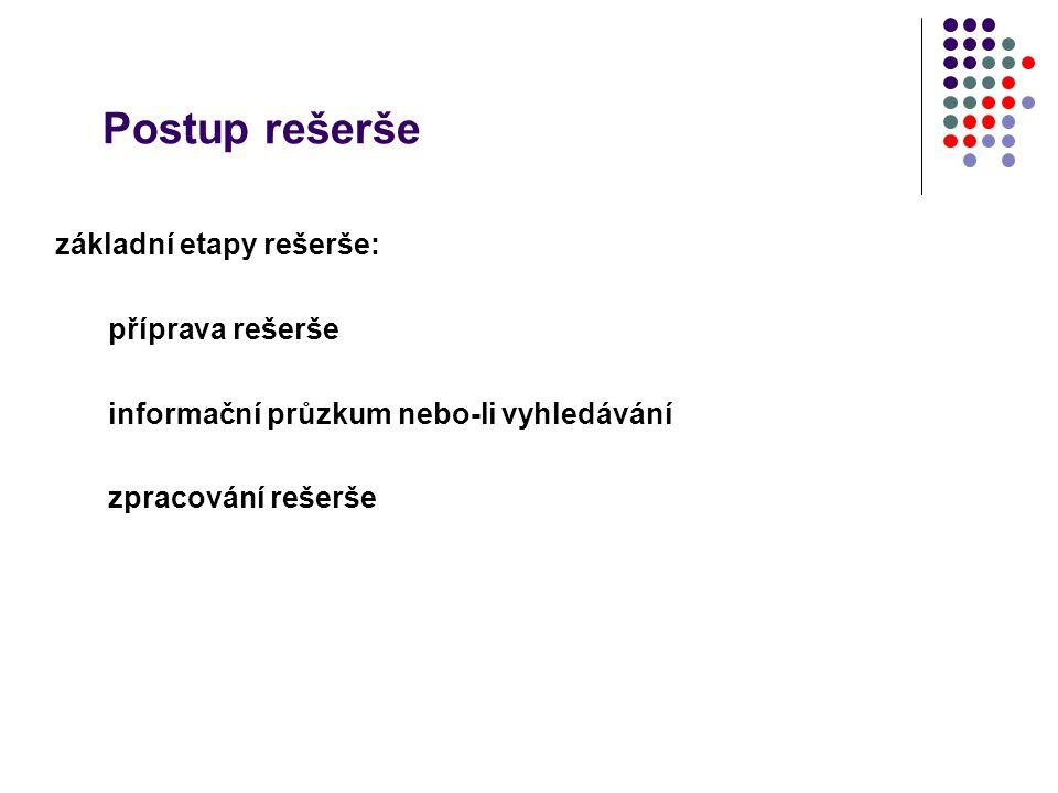 Postup rešerše základní etapy rešerše: příprava rešerše informační průzkum nebo-li vyhledávání zpracování rešerše