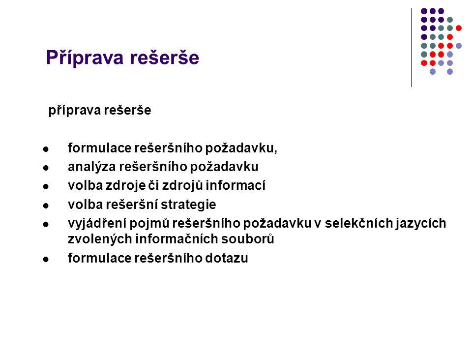 Příprava rešerše příprava rešerše formulace rešeršního požadavku, analýza rešeršního požadavku volba zdroje či zdrojů informací volba rešeršní strateg