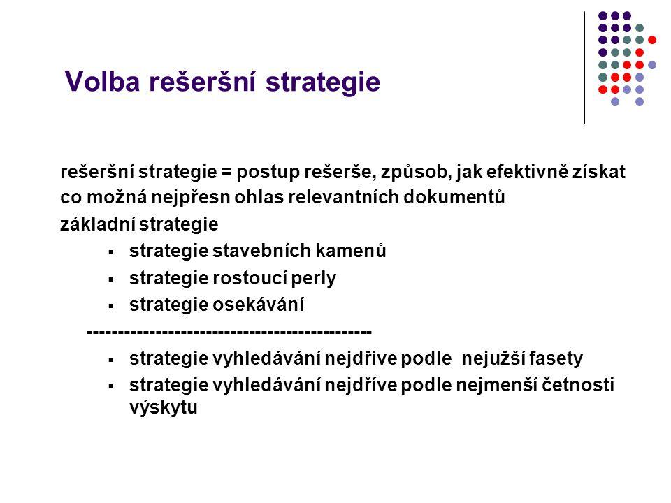 Volba rešeršní strategie rešeršní strategie = postup rešerše, způsob, jak efektivně získat co možná nejpřesn ohlas relevantních dokumentů základní str