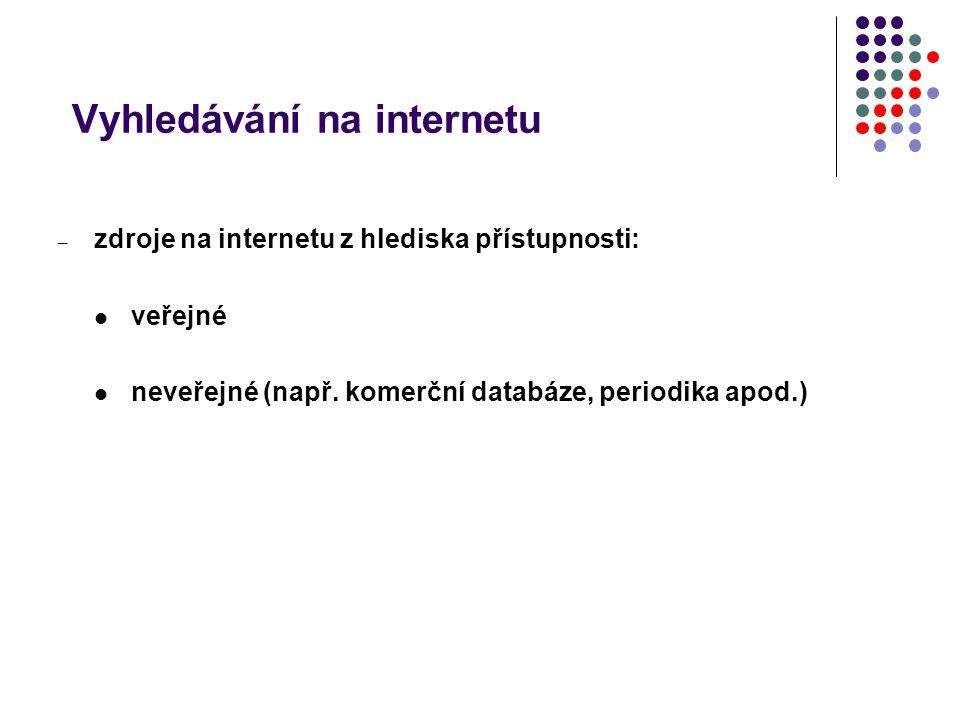 Vyhledávání na internetu – zdroje na internetu z hlediska přístupnosti: veřejné neveřejné (např. komerční databáze, periodika apod.)