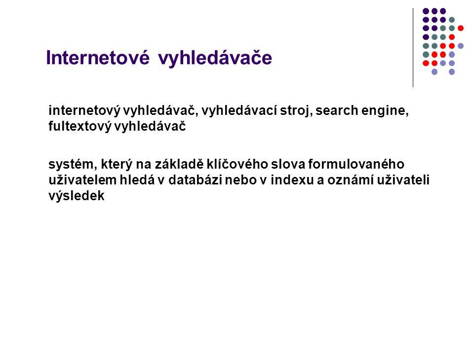 Internetové vyhledávače internetový vyhledávač, vyhledávací stroj, search engine, fultextový vyhledávač systém, který na základě klíčového slova formu