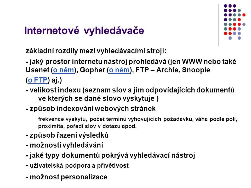Internetové vyhledávače základní rozdíly mezi vyhledávacími stroji: - jaký prostor internetu nástroj prohledává (jen WWW nebo také Usenet (o něm), Gop