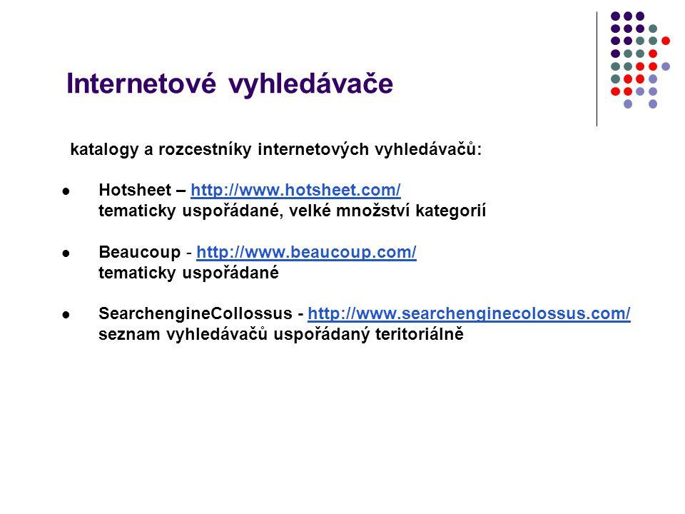 Internetové vyhledávače katalogy a rozcestníky internetových vyhledávačů: Hotsheet – http://www.hotsheet.com/http://www.hotsheet.com/ tematicky uspořá