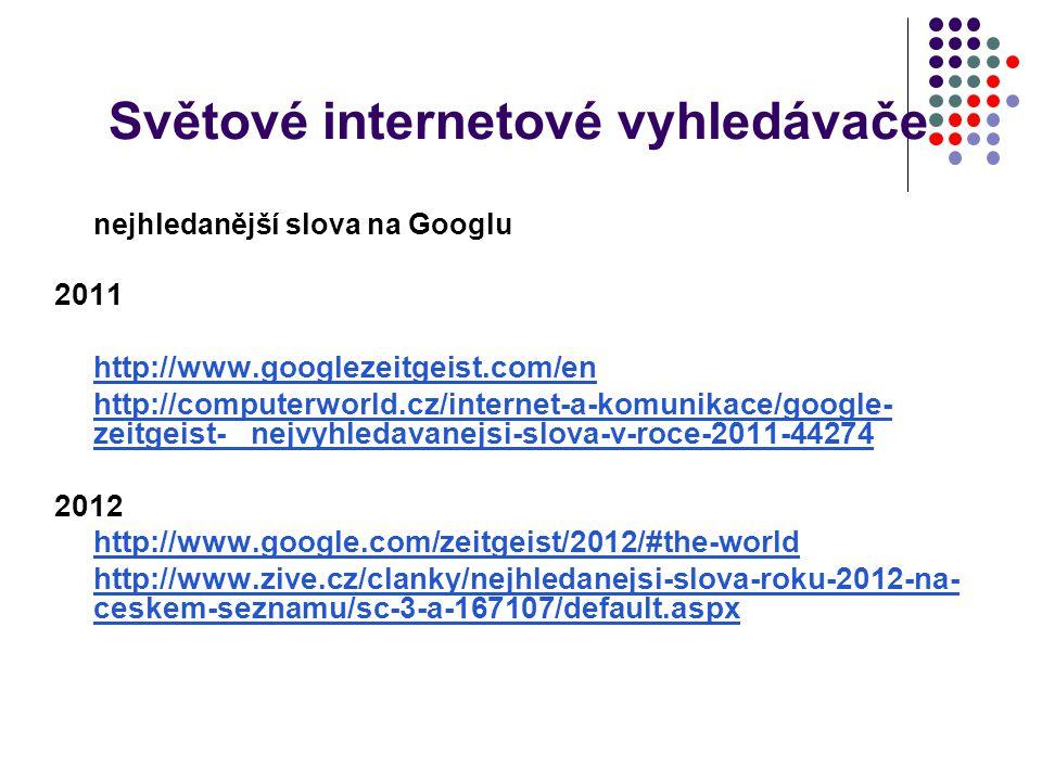 Světové internetové vyhledávače nejhledanější slova na Googlu 2011 http://www.googlezeitgeist.com/en http://computerworld.cz/internet-a-komunikace/goo