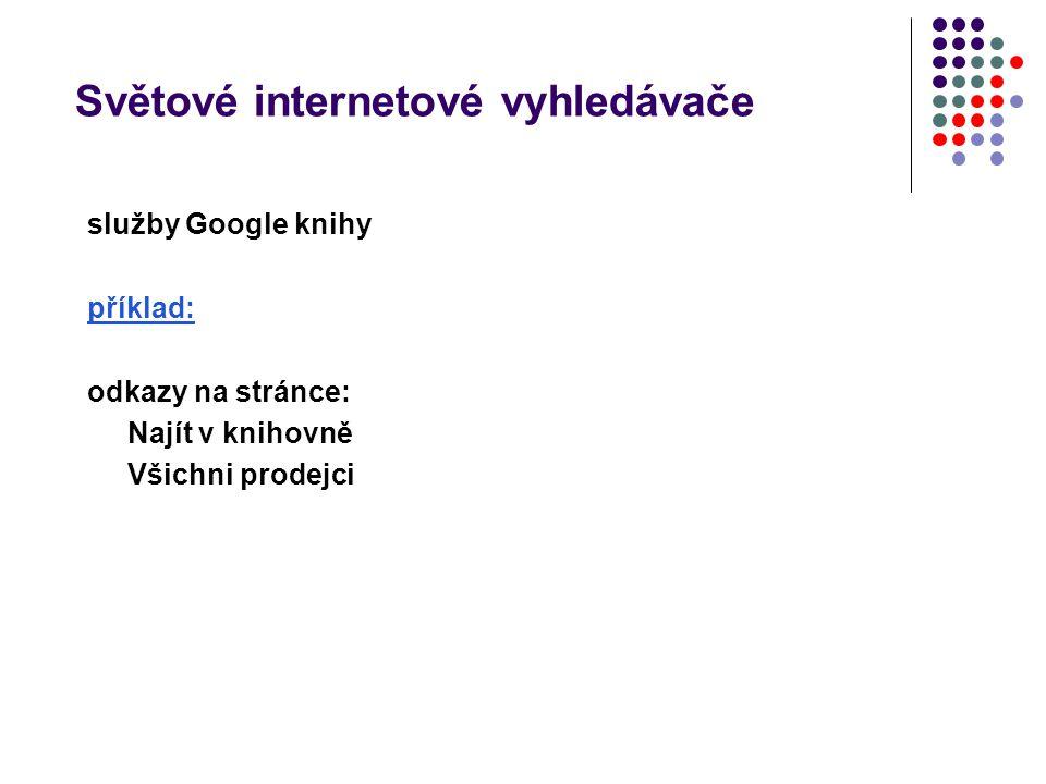 Světové internetové vyhledávače služby Google knihy příklad: odkazy na stránce: Najít v knihovně Všichni prodejci