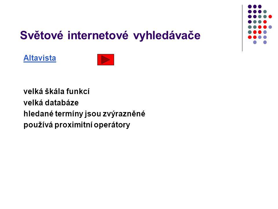 Světové internetové vyhledávače Altavista Silné stránky velká škála funkcí velká databáze hledané termíny jsou zvýrazněné používá proximitní operátory