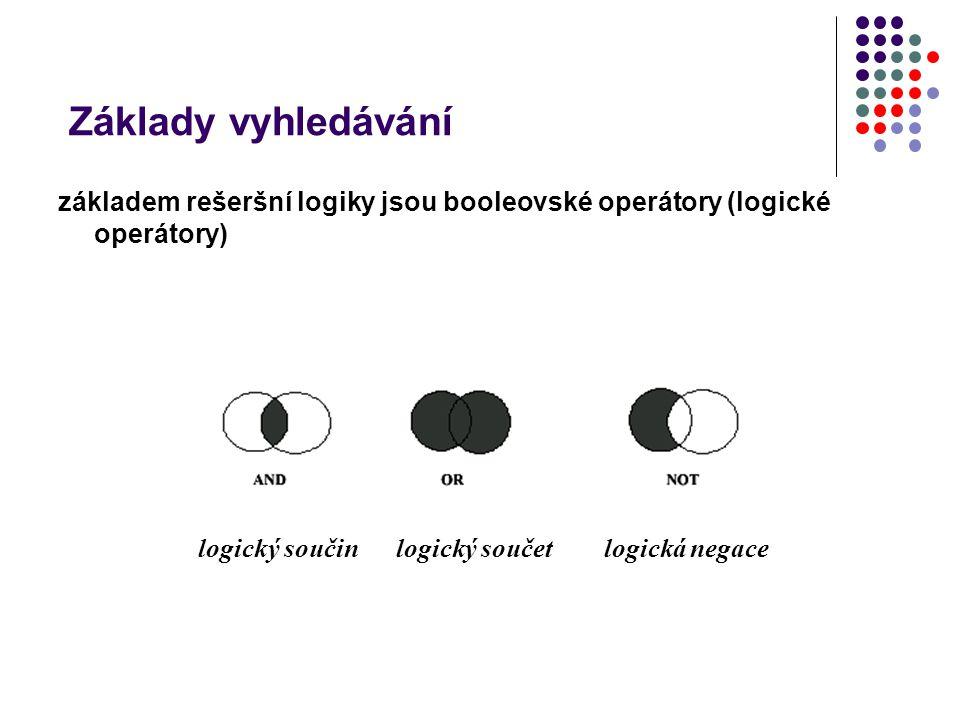 Základy vyhledávání logický součin operátor AND – univerzita AND Plzeň univerzita Plzeň