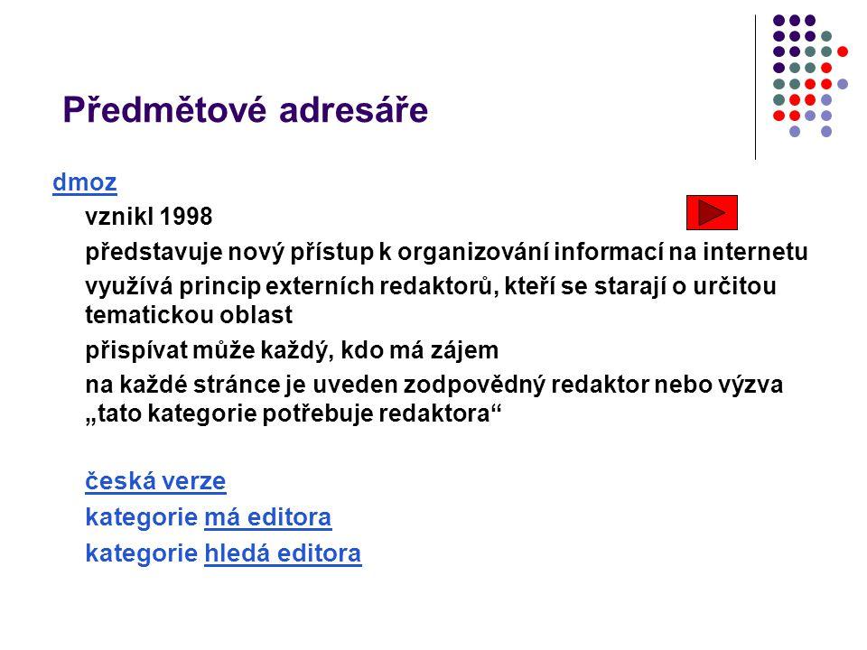 Předmětové adresáře dmoz vznikl 1998 představuje nový přístup k organizování informací na internetu využívá princip externích redaktorů, kteří se star