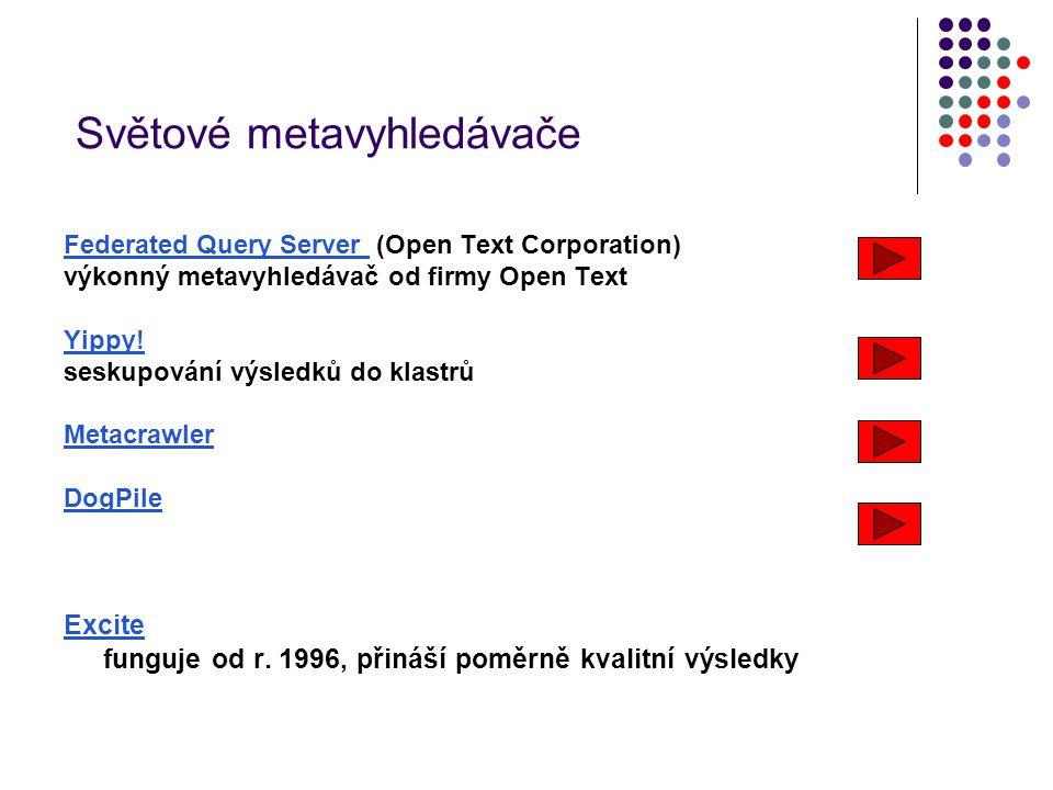 Světové metavyhledávače Federated Query Server Federated Query Server (Open Text Corporation) výkonný metavyhledávač od firmy Open Text Yippy! seskupo