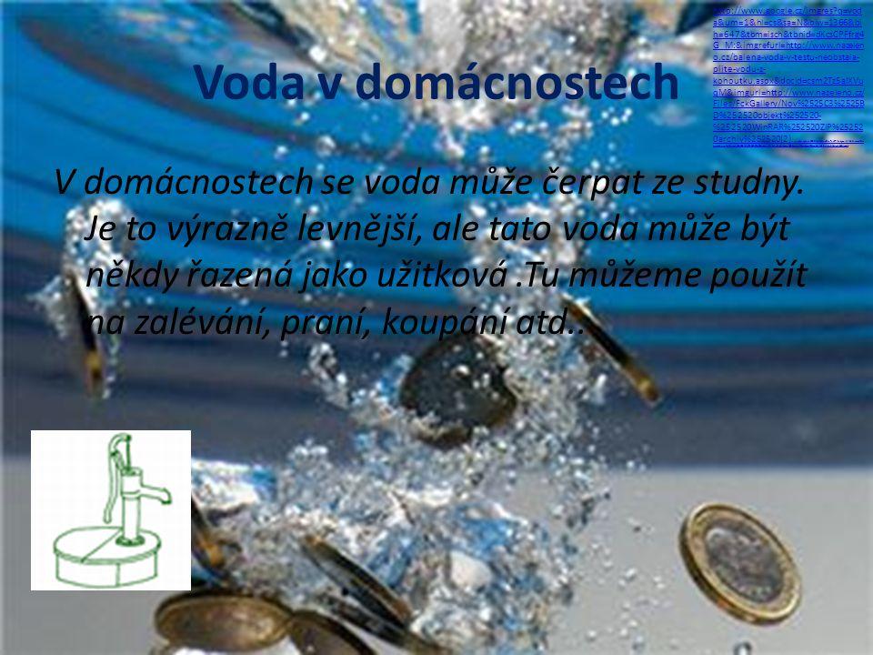 Voda v domácnostech V domácnostech se voda může čerpat ze studny. Je to výrazně levnější, ale tato voda může být někdy řazená jako užitková.Tu můžeme