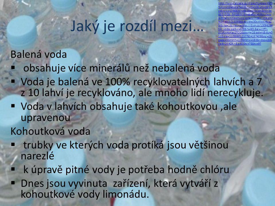 Jaký je rozdíl mezi… Balená voda  obsahuje více minerálů než nebalená voda  Voda je balená ve 100% recyklovatelných lahvích a 7 z 10 lahví je recykl