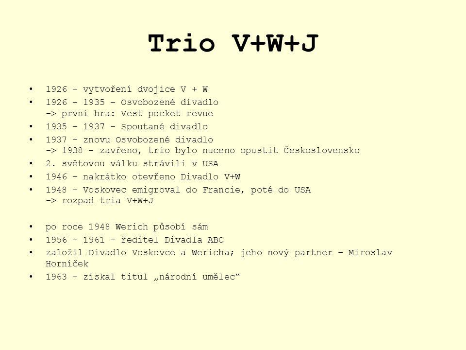 Trio V+W+J 1926 – vytvoření dvojice V + W 1926 – 1935 – Osvobozené divadlo -> první hra: Vest pocket revue 1935 – 1937 - Spoutané divadlo 1937 – znovu