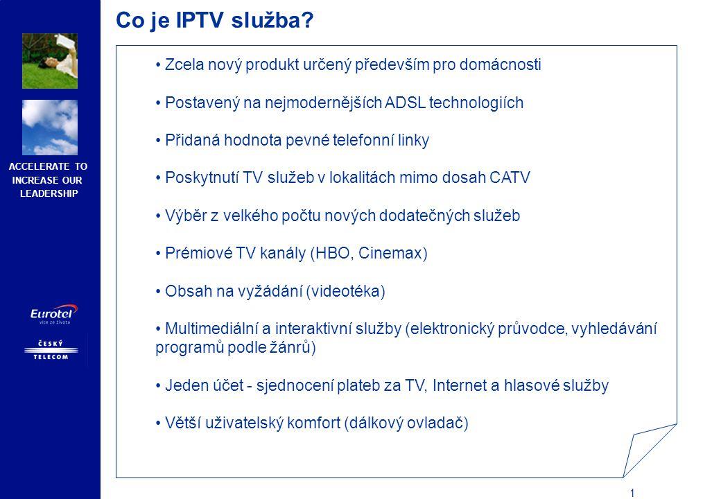 ACCELERATE TO INCREASE OUR LEADERSHIP 2 Co je IPTV služba.