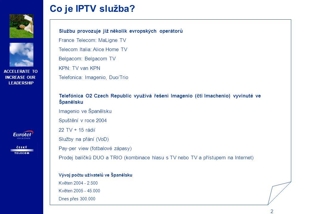 ACCELERATE TO INCREASE OUR LEADERSHIP 13 Produktový popis IPTV služby Základní nabídka TV balíčků O2 TV základní nabídka / O2 TV Základní nabídka na přípojkách ADSL Služba zahrnuje programy: Č T1, ČT2, Prima, TV Nova, TV Markíza, STV 1, CT24, CNN, BBC World, Jetix, Minimax, A +, Spectrum, National Geographic, Discovery, AXN, Zone Romantica, Zone Reality, ČT4 Sport, Galaxie, Sport, Eurosport 1, Eurosport 2, Óčko, MTV Europe O2 TV filmová nabídka / O2 TV filmová nabídka na přípojkách ADSL Služba zahrnuje programy: Č T1, Č T2, Prima, TV Nova, HBO, HBO2, Cinemax, Cinemax 2 Rozdíl mezi základním balíčkem IPTV a balíčkem IPTV na přípojkách ADSL je POUZE v ceně, obě varianty nabízejí stejnou skladbu televizních a rozhlasových kanálů i dalších služeb.